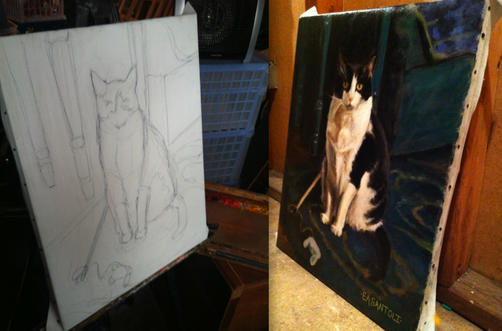 Eric Santoli's pet portrait shows the original sketch and finished painting, side by side.