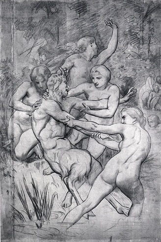 A charcoal cartoon drawing of Nymphs and Satyr by William-Adolphe Bouguereau.
